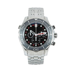 Luxury steel watch with a red hand and a second time zone and a steel strap, front view isolated on white background