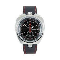 Luxury steel watch with red arrow and black leather strap, front view, isolated on white background