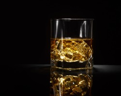 Luxury still life of whisky glass. Copyspace