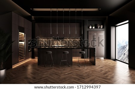 Luxury studio apartment with a premium contemporary kitchen loft style in dark colors. Stylish modern room area with large window. 3d render Stock fotó ©