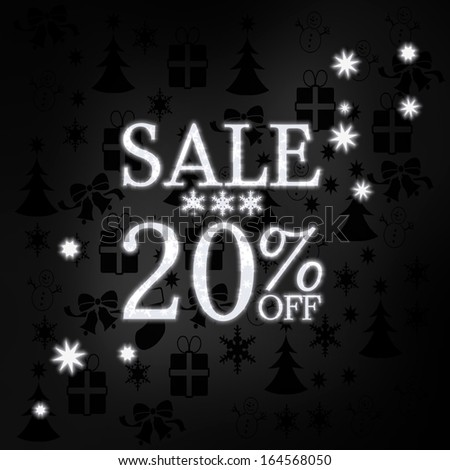 luxury stylish christmas sale 20 percent off label in black white with xmas icons in the