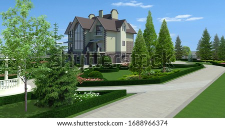 Luxury suburbia green design features, 3D Render stock photo