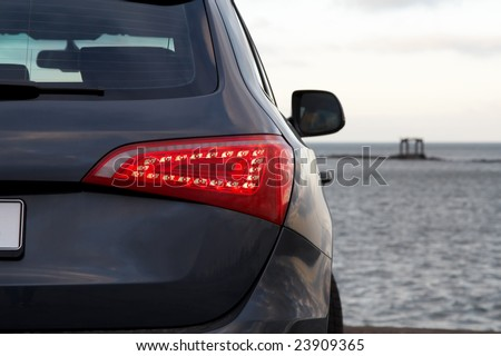 Luxury SUV rear light closeup