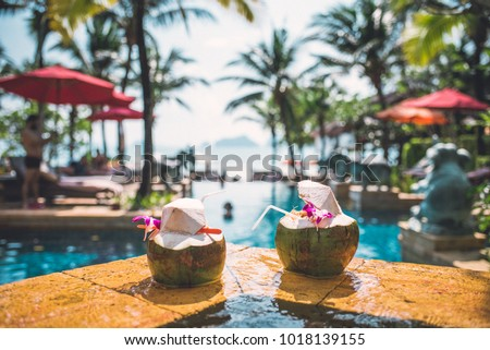 Luxury swimming pool at a tropical resort #1018139155