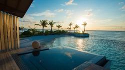 Luxury swimming pool near beach front
