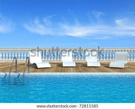 Luxury swimming pool with white fashion deckchairs -rendering- the image on background is a my rendering composition