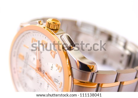 Luxury swiss wrist watch with chronograph - focus on control button