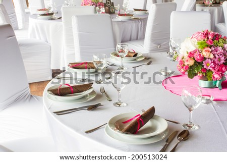 luxury table set for wedding or another catered event dinner