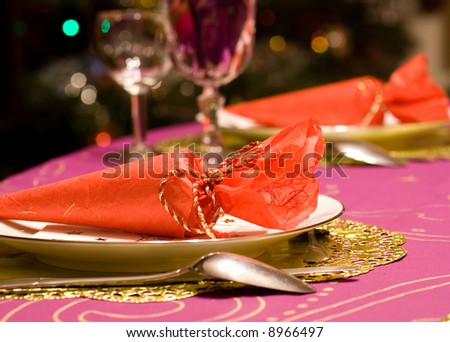 Luxury table set of a dinner - Wine glasses on the table