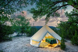 Luxury Tent at a Campsite at Sunset
