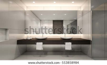 Luxury toilet with white ceramic wall / 3D Rendering