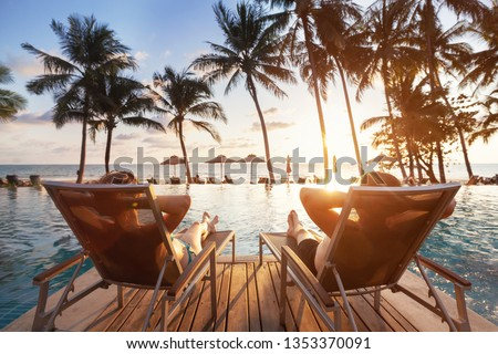 Photo of  luxury travel, romantic beach getaway holidays for honeymoon couple, tropical vacation in luxurious hotel