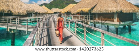 Luxury travel vacation destination panoramic banner. Romantic honeymoon getaway in overwater bungalows villas of Tahiti resort, Bora Bora, French Polynesia. Landscape copy space panorama. #1420273625