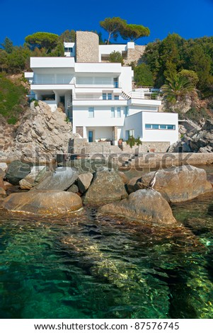 Luxury villa on the coastline.