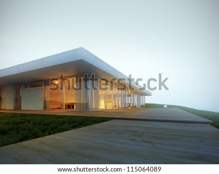 Luxury villa on the hillside in fog 3D - stock photo