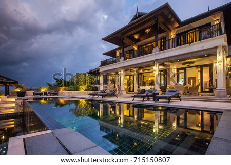 Luxury villa with big swimming pool interior outdoor #715150807