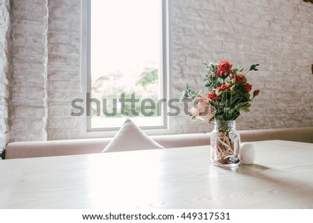 Luxury Vintage Marble Table Decoration with Flower Glass White Brick Wall  #449317531