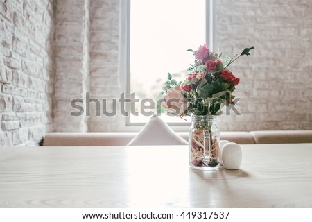 Luxury Vintage Marble Table Decoration with Flower Glass White Brick Wall  #449317537