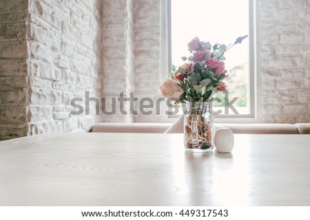 Luxury Vintage Marble Table Decoration with Flower Glass White Brick Wall  #449317543