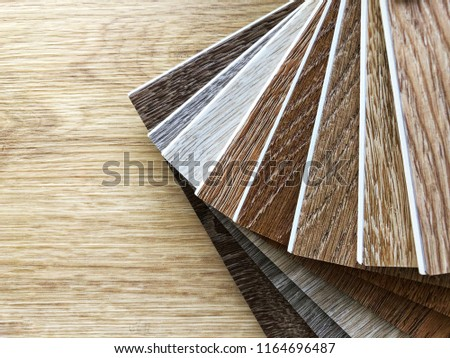 Luxury vinyl flooring sample wood planks colors for new home floor or renovate interior design idea, copy space for text