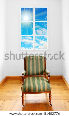Luxury vitage armchair in empty room.