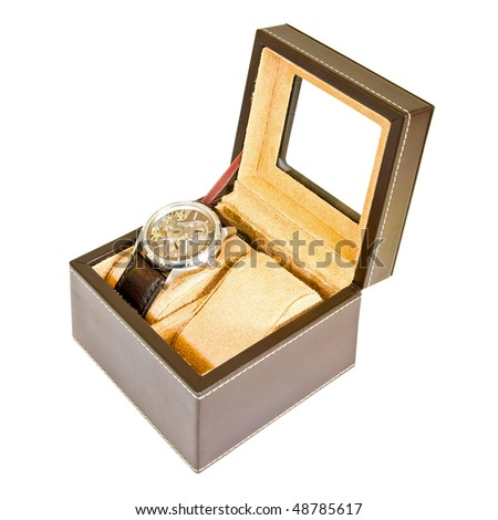 Luxury watch box isolated included clipping path