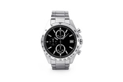 Luxury watch isolated on white background. With clipping path for artwork or design. Black. Fashion watch.