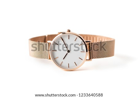 Photo of  Luxury watch isolated on white background. With clipping path. Gold watch. Women watch. Female watch.