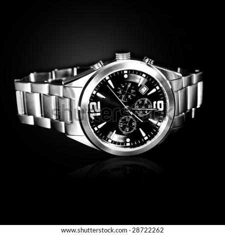 luxury watch on black background