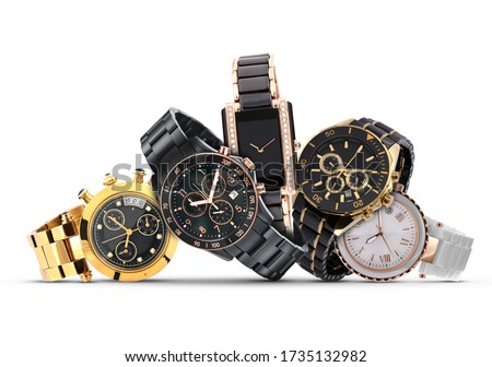 Luxury watches isolated on white background. With clipping path. Gold watch. Women and man watches. Female and male watches. Сток-фото ©