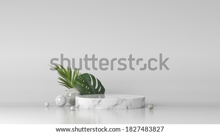 luxury white Marble box, block, cylinder podium green leaves in white marble background. concept scene stage showcase, product, perfume, promotion sale, banner, presentation, cosmetic. 3D render