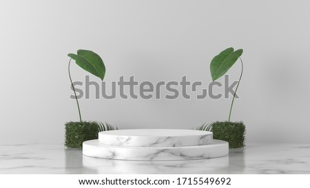 luxury white Marble Cylinder, Circle podium and cube green leaves in white marble background. concept scene stage showcase, product, perfume, promotion sale, banner, presentation, cosmetic. 3D render