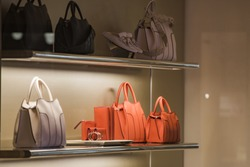 Luxury woman purses in a store in Paris