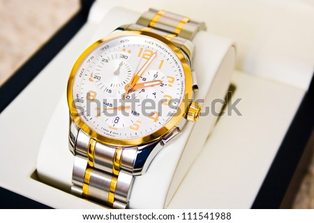 Luxury wrist watch isolated in a special gift box