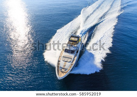 luxury yacht, aerial view italian shipyard