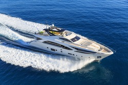 luxury yacht, aerial view italian shipyard PERMARE