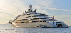 Luxury yacht at sunset. Yachting. Cruises
