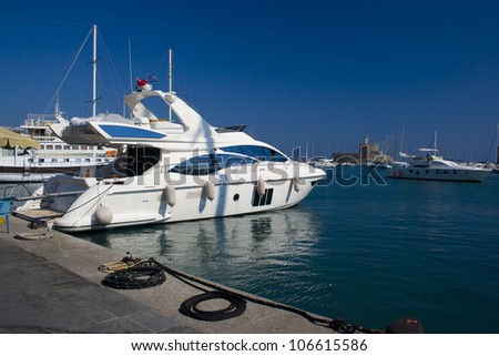 Luxury yacht in Mandraki harbor, Rhodes, Greece