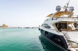 Luxury yacht in Rhodes harbor