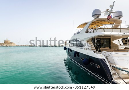 Luxury yacht in Rhodes harbor stock photo