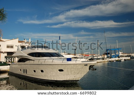 Luxury yacht in the harbor of Marbella, Spain