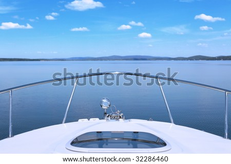 Luxury yacht in the ocean stock photo