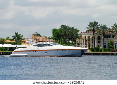 Luxury yacht on Florida waterway