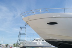 Luxury yacht waiting for service and repair
