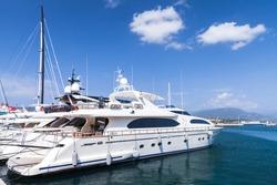 Luxury yachts are moored in marina of Ajaccio, Corsica