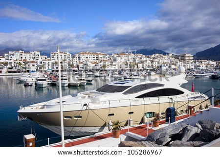 Luxury yachts at Puerto Banus marina on Costa del Sol, southern Andalucia, Spain.