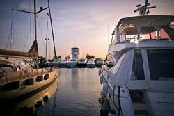 Luxury yachts at sunset in marina Puerto Portals, Mallorca, Spain