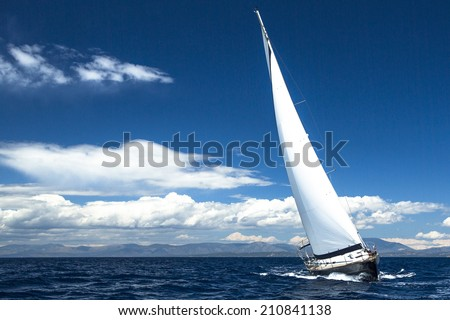 Luxury yachts. Boat in sailing regatta (with space for text) #210841138
