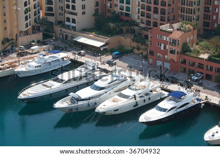 Luxury yachts docked in Monaco, France
