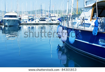 Luxury Yachts in marina - stock photo